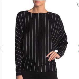 Bat wing sleeved striped sweater